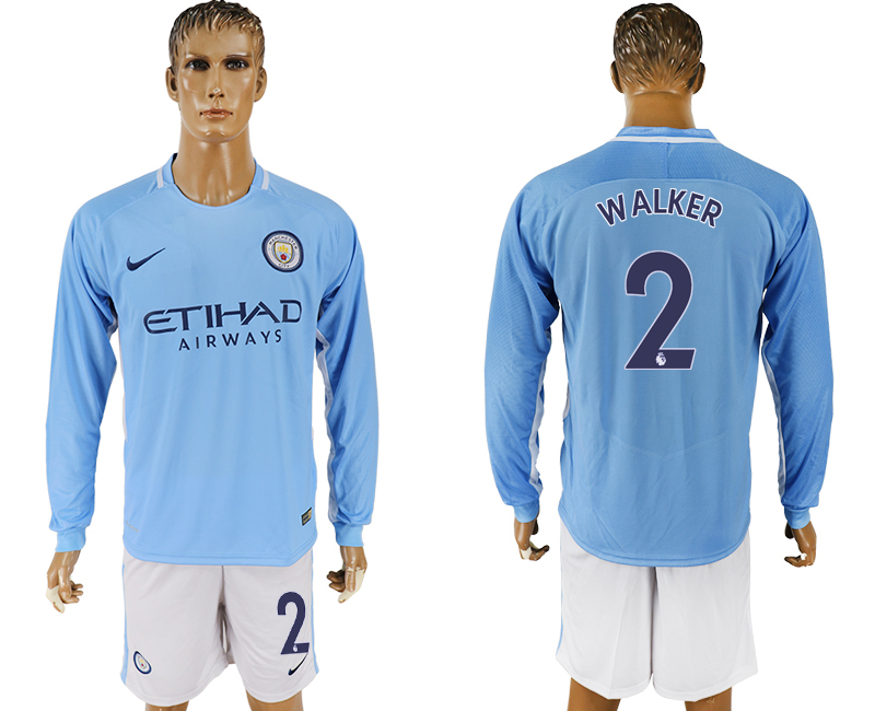 Men 2017-2018 club Manchester city away long sleeve 2 blue soccer jersey