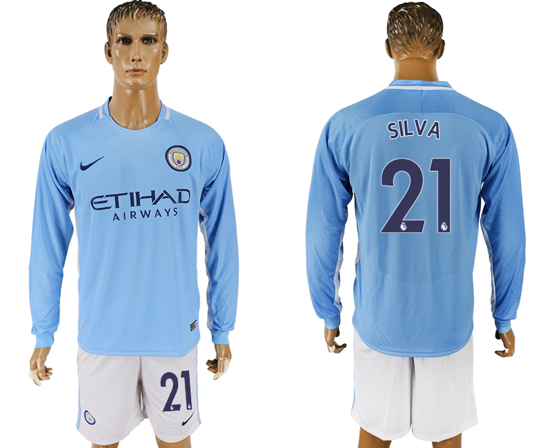 Men 2017-2018 club Manchester city away long sleeve 21blue soccer jersey
