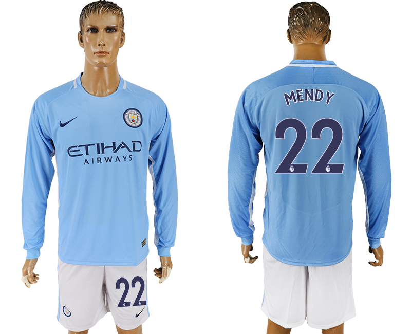 Men 2017-2018 club Manchester city away long sleeve 22 blue soccer jersey