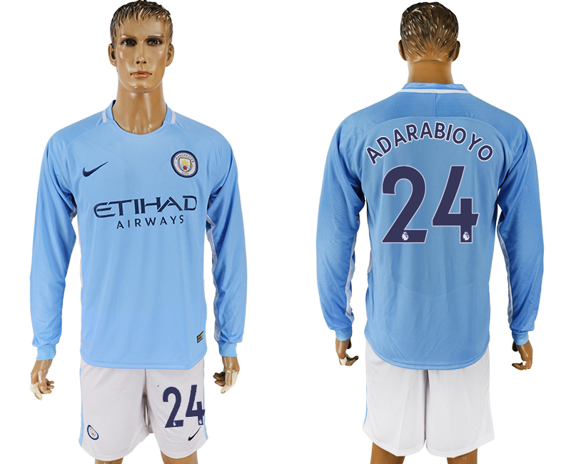 Men 2017-2018 club Manchester city away long sleeve 24 blue soccer jersey