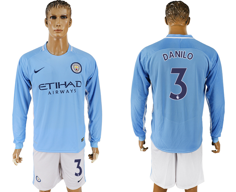 Men 2017-2018 club Manchester city away long sleeve 3 blue soccer jersey