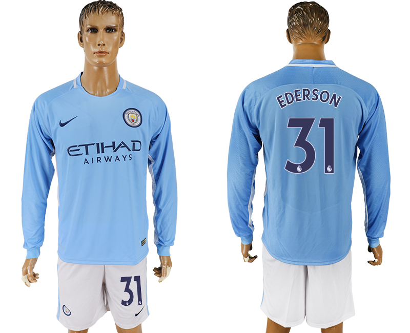 Men 2017-2018 club Manchester city away long sleeve 31 blue soccer jersey