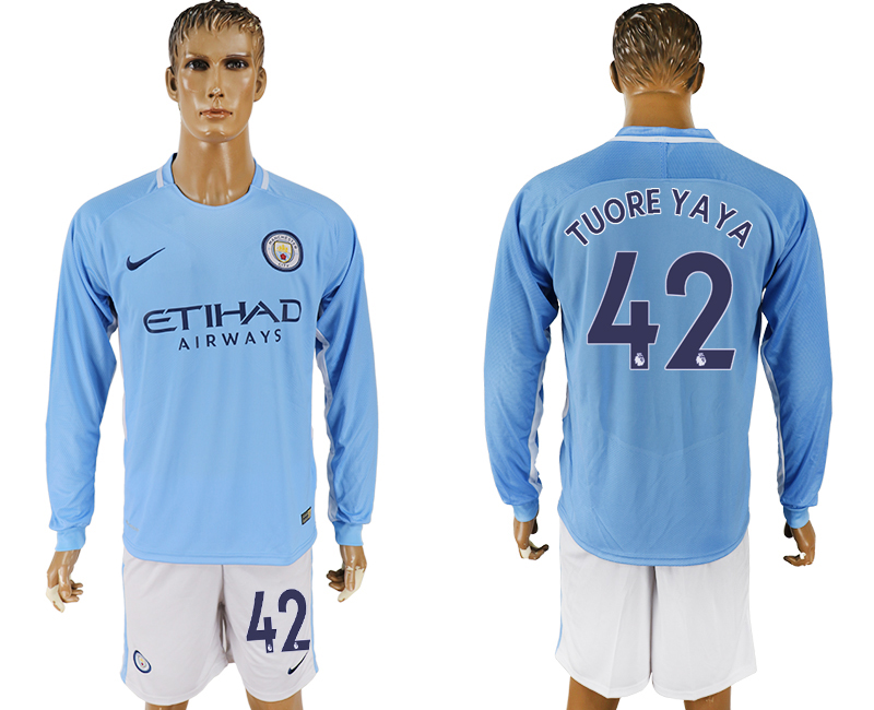 Men 2017-2018 club Manchester city away long sleeve 42 blue soccer jersey