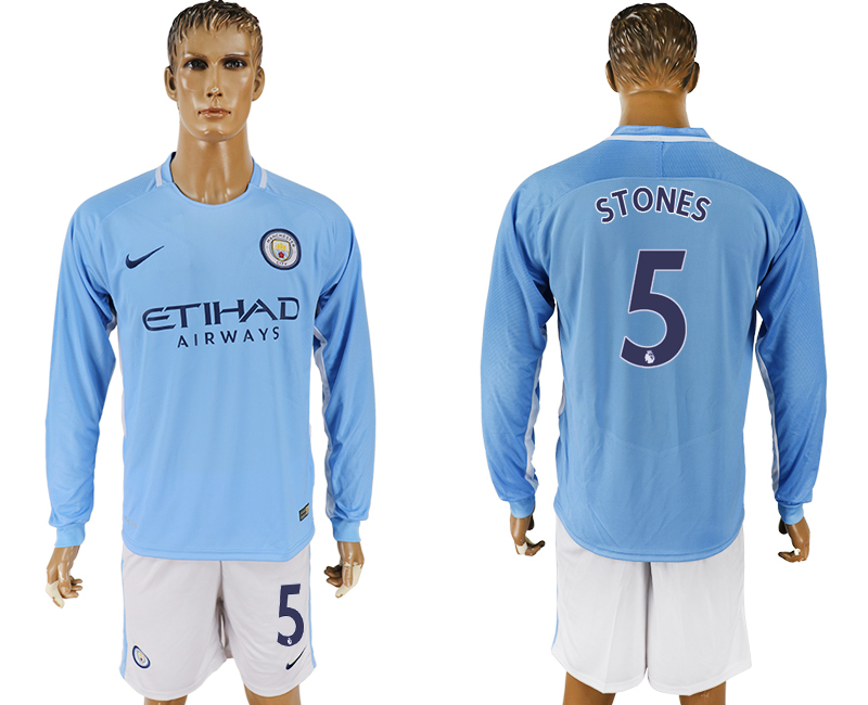 Men 2017-2018 club Manchester city away long sleeve 5 blue soccer jersey
