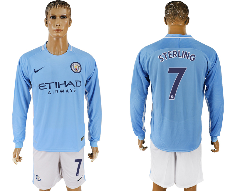 Men 2017-2018 club Manchester city away long sleeve 7 blue soccer jersey