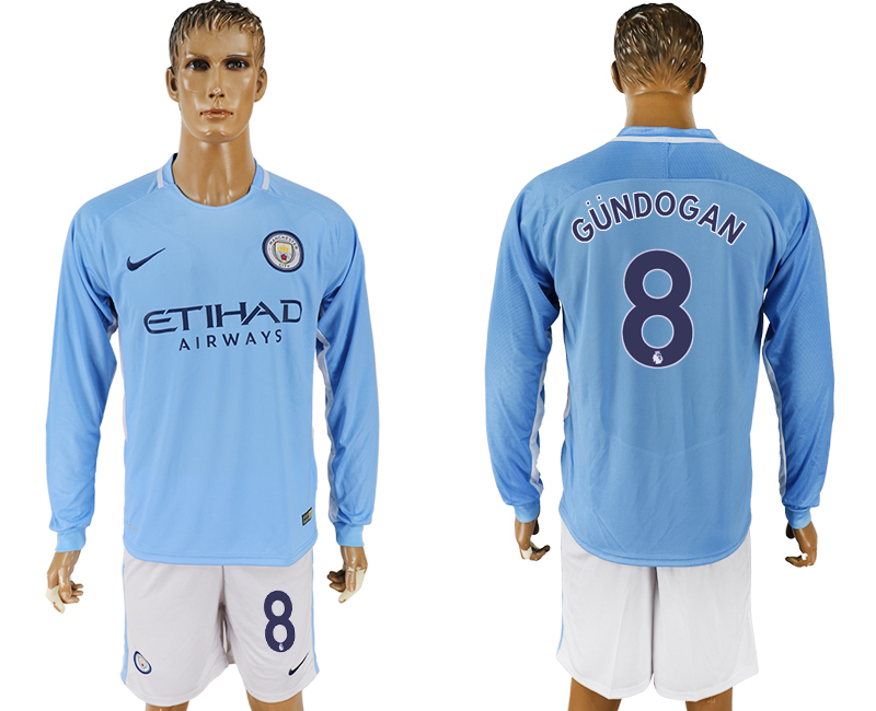 Men 2017-2018 club Manchester city away long sleeve 8 blue soccer jersey