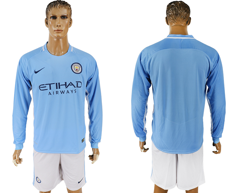 Men 2017-2018 club Manchester city away long sleeve blank blue soccer jersey
