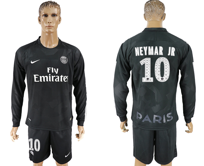 Men 2017-2018 club Paris saint germain away long sleeves 10 black soccer jersey