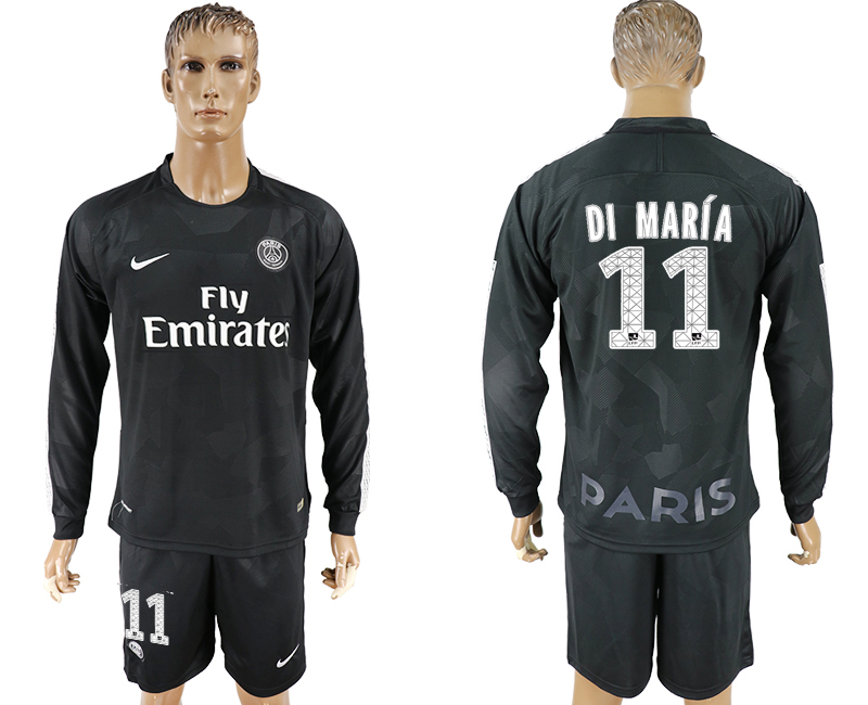 Men 2017-2018 club Paris saint germain away long sleeves 11 black soccer jersey