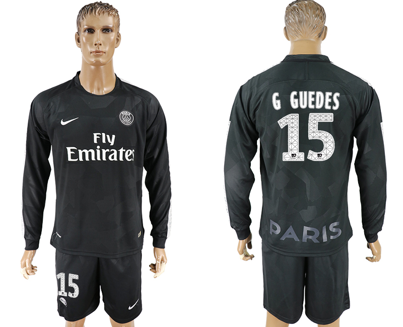 Men 2017-2018 club Paris saint germain away long sleeves 15 black soccer jersey