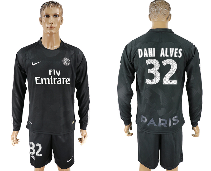 Men 2017-2018 club Paris saint germain away long sleeves 32 black soccer jersey