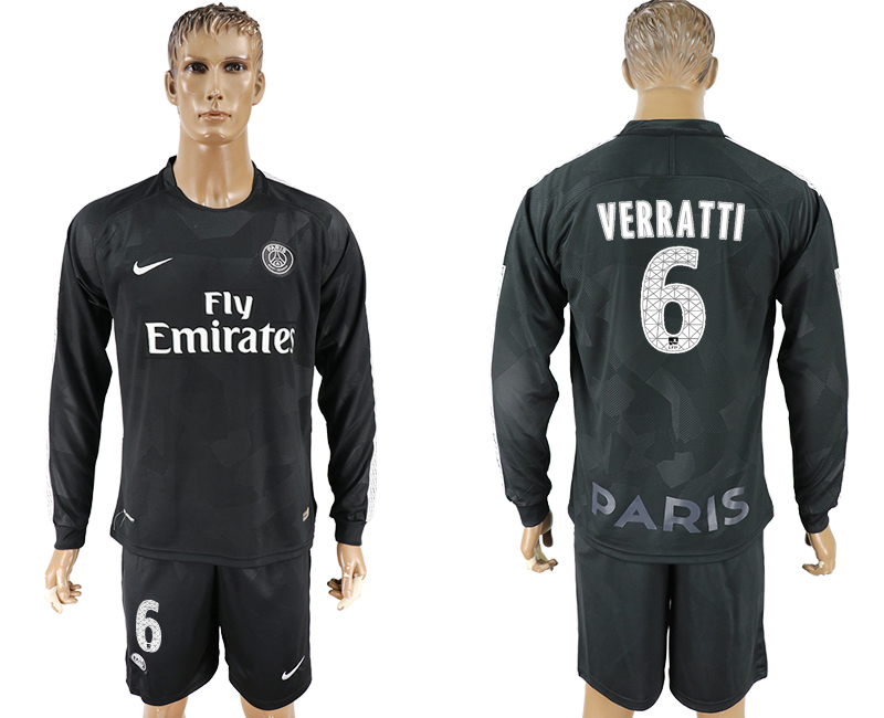 Men 2017-2018 club Paris saint germain away long sleeves 6 black soccer jersey