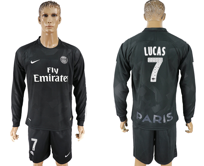 Men 2017-2018 club Paris saint germain away long sleeves 7 black soccer jersey