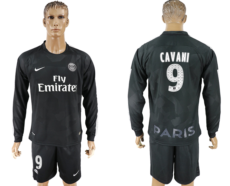 Men 2017-2018 club Paris saint germain away long sleeves 9 black soccer jersey