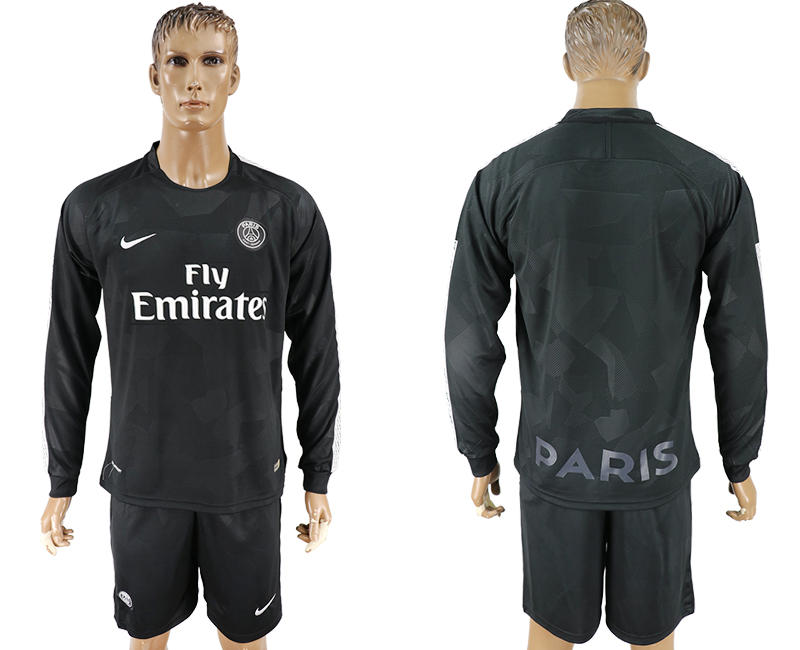 Men 2017-2018 club Paris saint germain away long sleeves blank black soccer jersey
