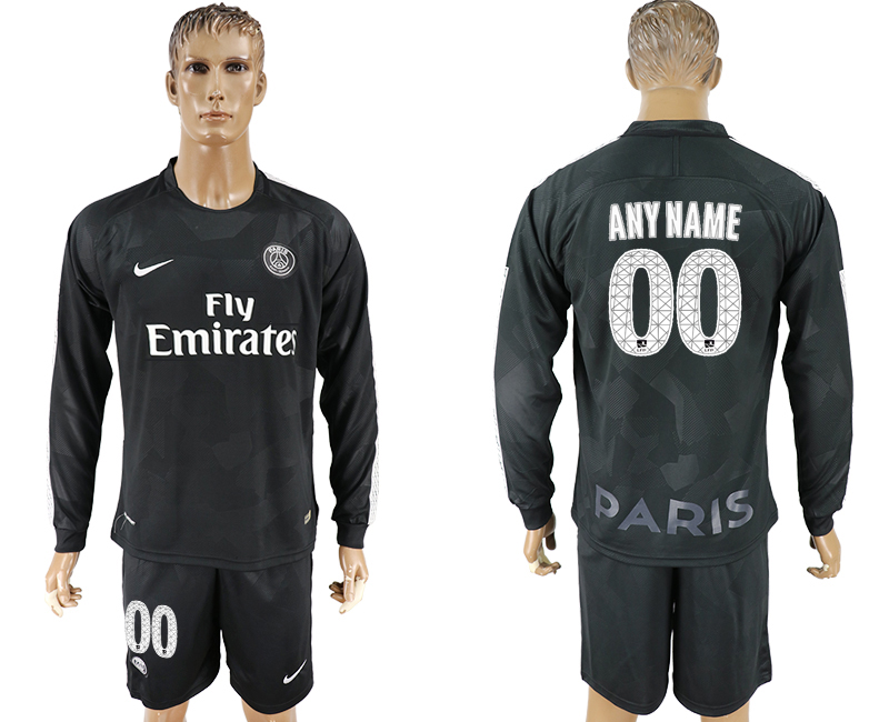 Men 2017-2018 club Paris saint germain away long sleeves customized black soccer jersey