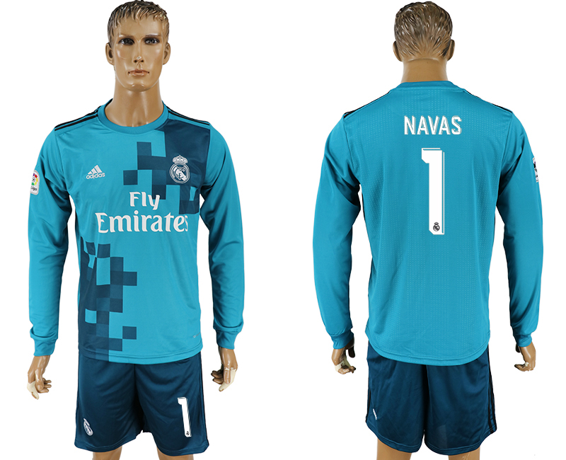 Men 2017-2018 club Real Madrid away long sleeve 1 green soccer jersey