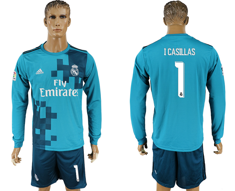 Men 2017-2018 club Real Madrid away long sleeve 1 green soccer jersey1