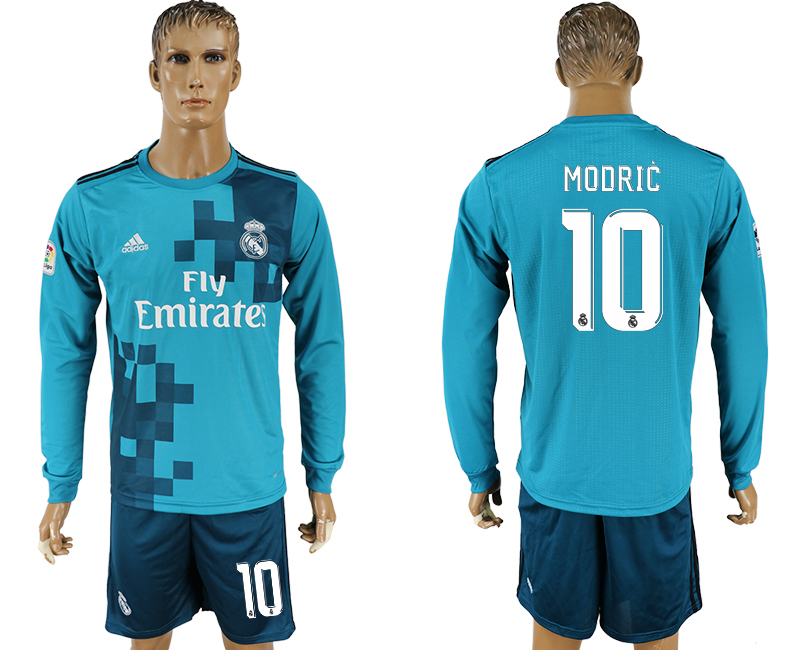 Men 2017-2018 club Real Madrid away long sleeve 10 green soccer jersey