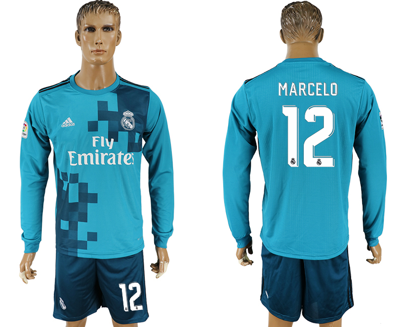 Men 2017-2018 club Real Madrid away long sleeve 12 green soccer jersey