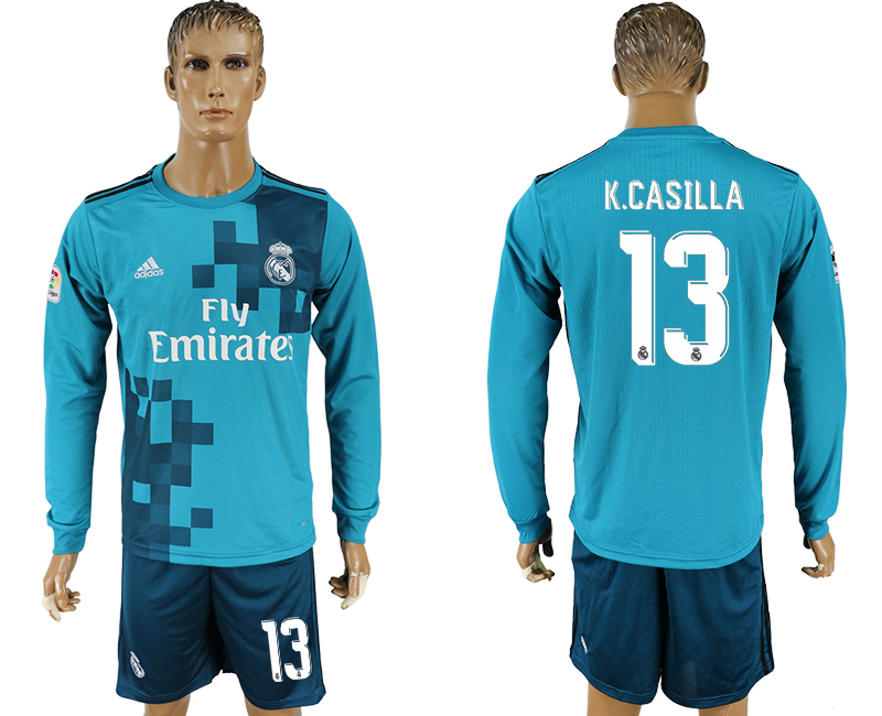 Men 2017-2018 club Real Madrid away long sleeve 13 green soccer jersey