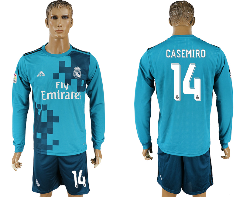 Men 2017-2018 club Real Madrid away long sleeve 14 green soccer jersey