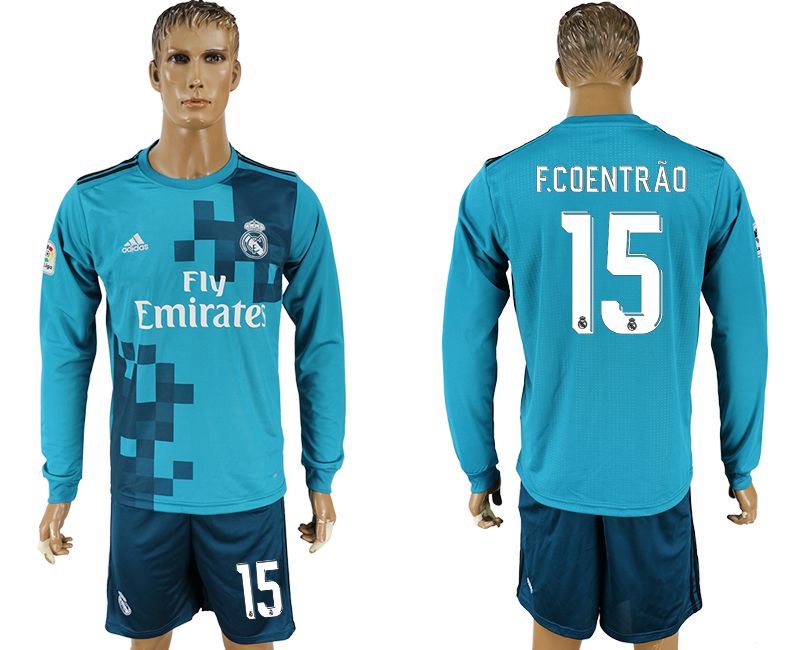 Men 2017-2018 club Real Madrid away long sleeve 15 green soccer jersey
