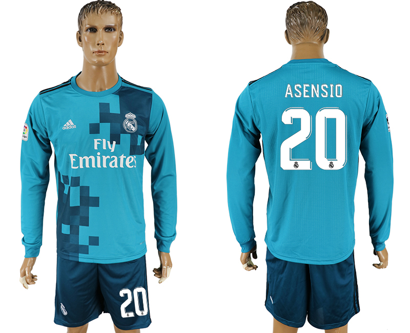 Men 2017-2018 club Real Madrid away long sleeve 20 green soccer jersey