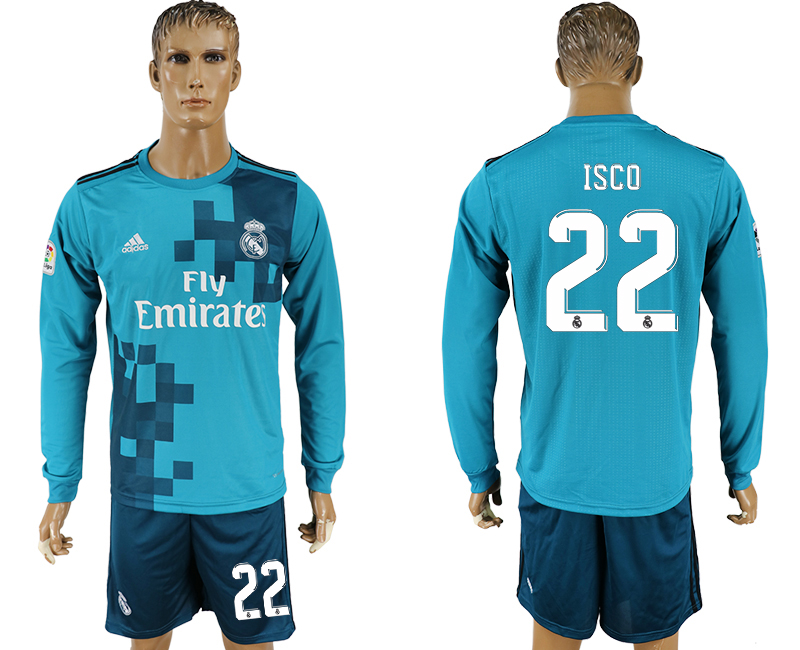 Men 2017-2018 club Real Madrid away long sleeve 22 green soccer jersey