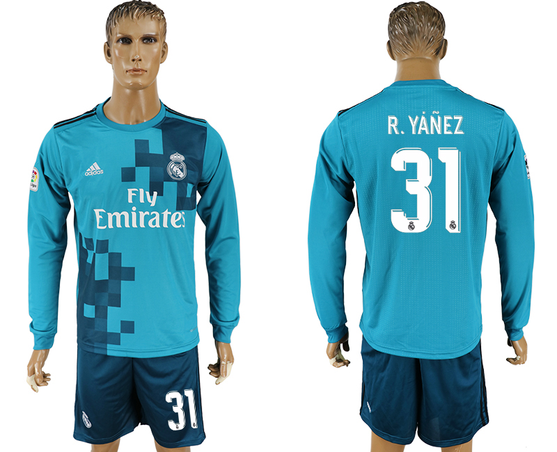 Men 2017-2018 club Real Madrid away long sleeve 31 green soccer jersey