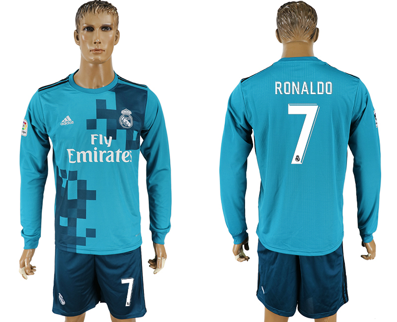 Men 2017-2018 club Real Madrid away long sleeve 7 green soccer jersey