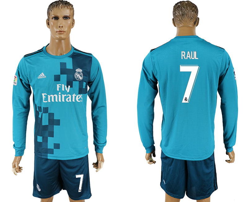 Men 2017-2018 club Real Madrid away long sleeve 7 green soccer jersey1