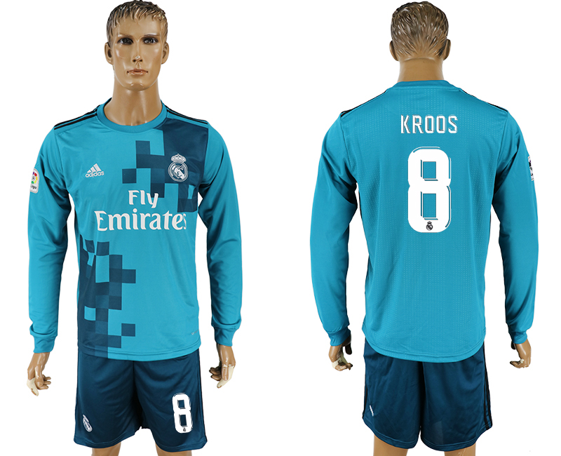 Men 2017-2018 club Real Madrid away long sleeve 8 green soccer jersey