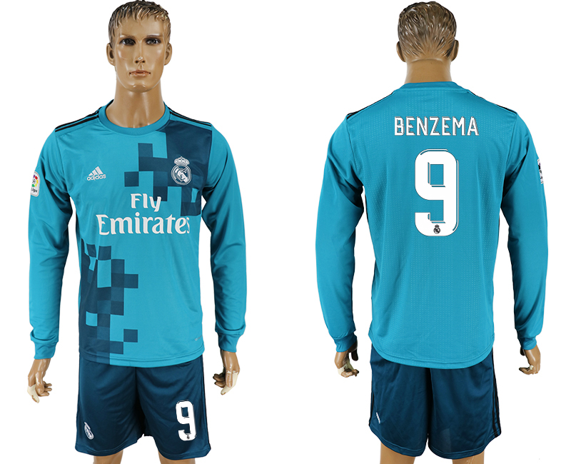 Men 2017-2018 club Real Madrid away long sleeve 9 green soccer jersey
