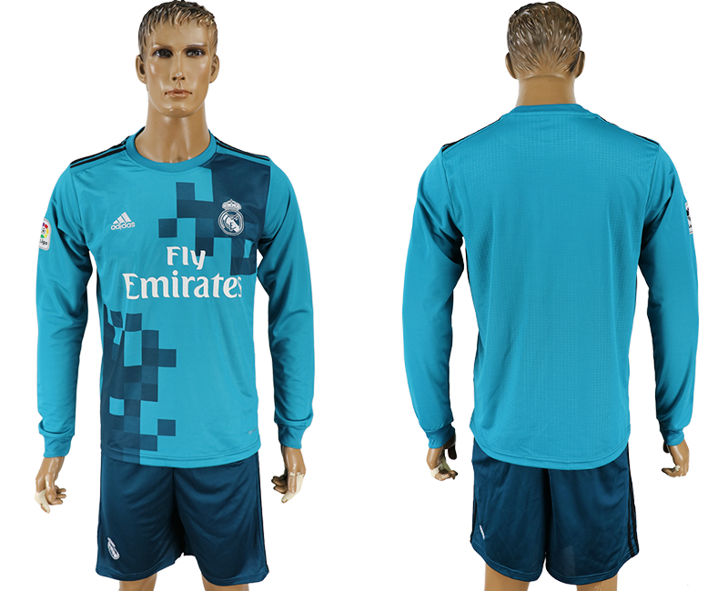 Men 2017-2018 club Real Madrid away long sleeve blank green soccer jersey