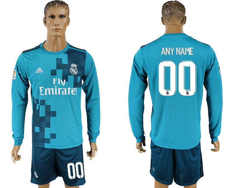 Men 2017-2018 club Real Madrid away long sleeve customized green soccer jersey