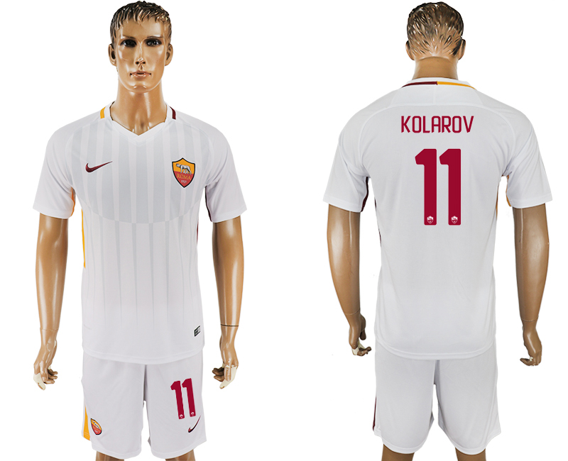 Men 2017-2018 club Rome away 11 white soccer jersey