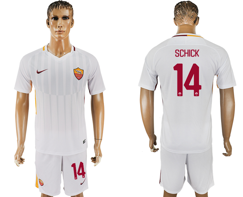 Men 2017-2018 club Rome away 14 white soccer jersey