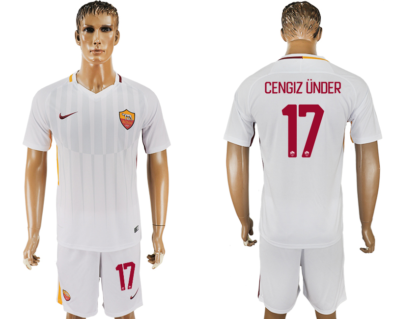 Men 2017-2018 club Rome away 17 white soccer jersey