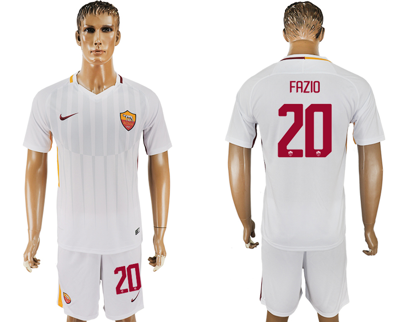 Men 2017-2018 club Rome away 20 white soccer jersey