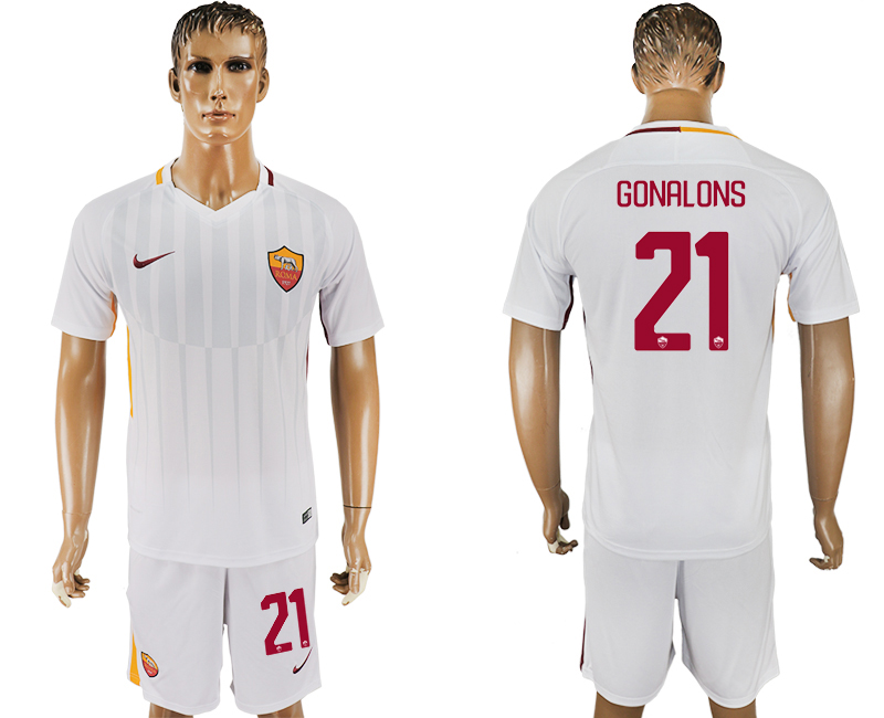 Men 2017-2018 club Rome away 21 white soccer jersey