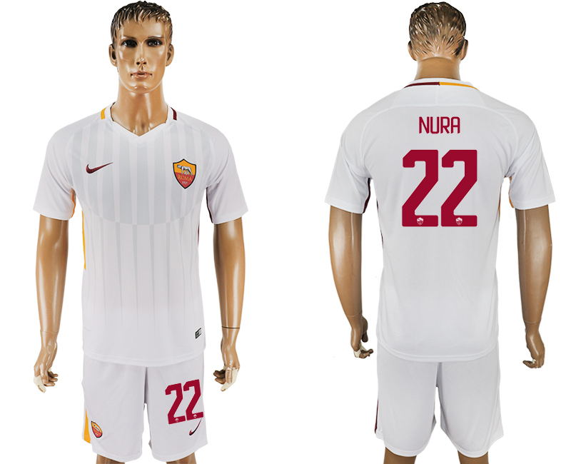 Men 2017-2018 club Rome away 22 white soccer jersey