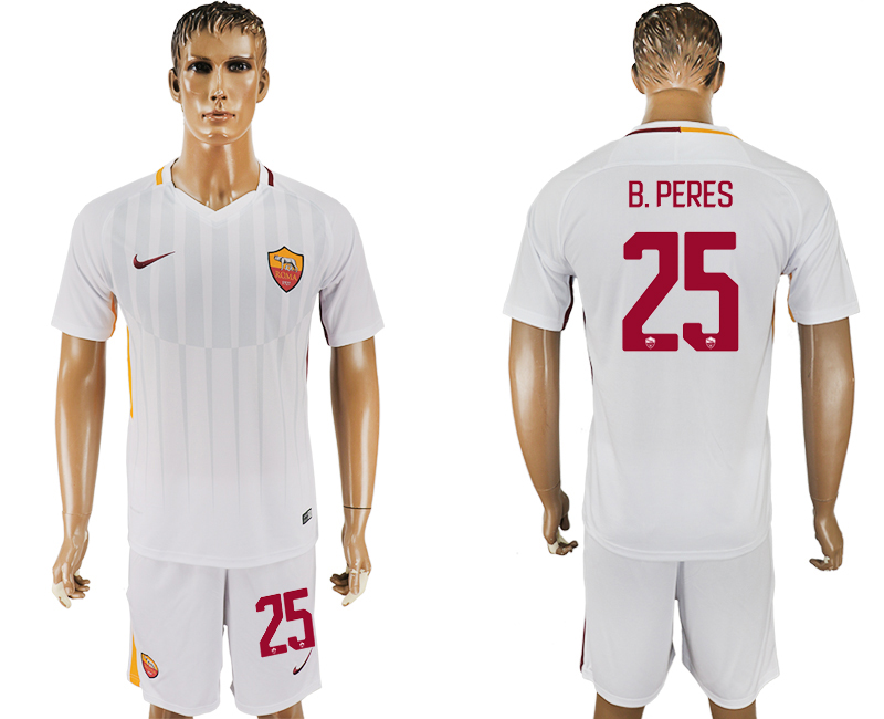 Men 2017-2018 club Rome away 25 white soccer jersey