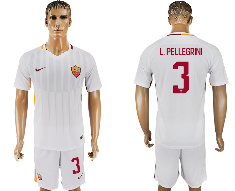 Men 2017-2018 club Rome away 3 white soccer jersey