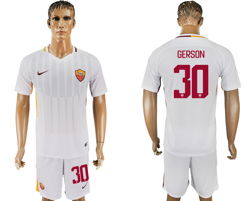 Men 2017-2018 club Rome away 30 white soccer jersey