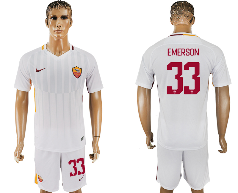 Men 2017-2018 club Rome away 33 white soccer jersey