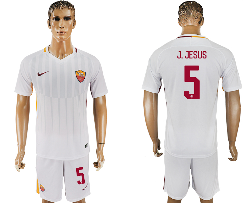 Men 2017-2018 club Rome away 5 white soccer jersey