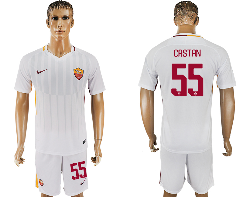 Men 2017-2018 club Rome away 55 white soccer jersey