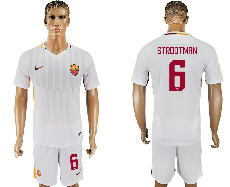 Men 2017-2018 club Rome away 6 white soccer jersey
