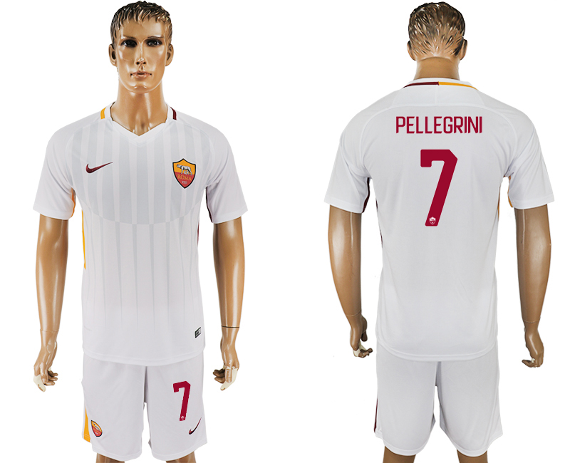 Men 2017-2018 club Rome away 7 white soccer jersey